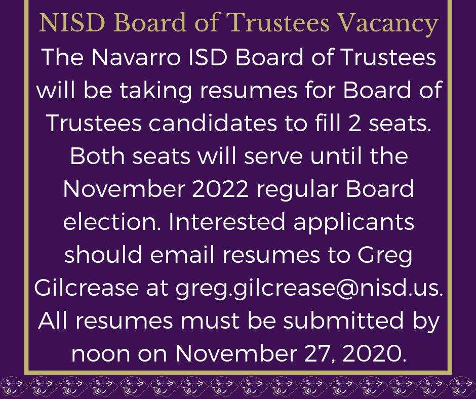NISD Board of Trustees Vacancy