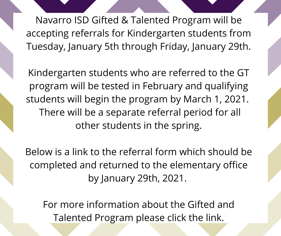 Kindergarten GT Referrals