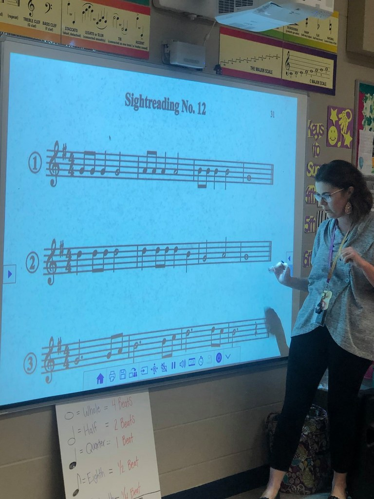 Teacher working with students on music lesson